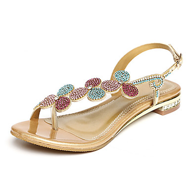 Mulheres Sapatos Microfibra Verão Outono Sapatos clube Inovador Conforto Sandálias Caminhada Sem Salto Dedo Aberto Pedrarias Cristais