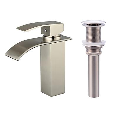 Conjunto Central Cascata Válvula Cerâmica Uma Abertura Níquel Escovado, Faucet Set