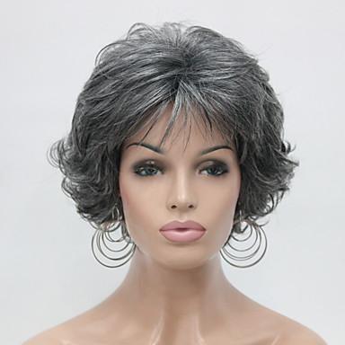 الاصطناعية الباروكات مجعد شعر مستعار صناعي رمادي شعر مستعار للمرأة قصير دون غطاء