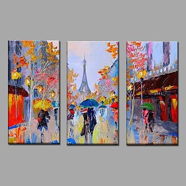 Ručně malované Krajina Horizontální, Moderní evropský styl Plátno Hang-malované olejomalba Home dekorace Tři panely