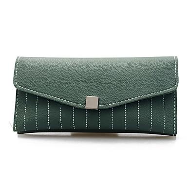 Mulheres Bolsas PU Carteiras / Dobra Tripla Sólido Cinzento / Verde / Rosa claro