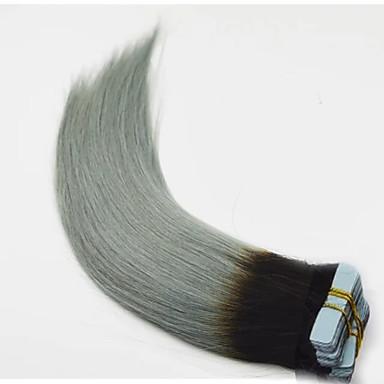 voordelige Extensions van echt haar-PANSY Tape-in Extensions van echt haar Recht Mensen Remy Haar Echt haar Indiaas haar Ombre Zwart / grijs