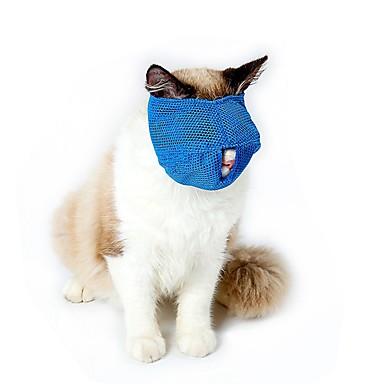 قط كلب الكمامات قابل للسحبقابل للتعديل مقاوم للماء متنفس سادة شبكة أزرق زهري