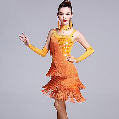 Dança Latina Vestidos Mulheres Espetáculo Viscose Lantejoulas / Mocassim / Cristal / Strass Sem Manga Natural Vestido / Luvas / Calções