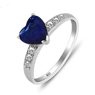 Women's Cubic Zirconia Dark Blue Sterling Silver Silver Love Costume Jewelry