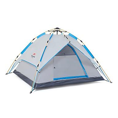 Naturehike 4 pessoas Tenda Dupla Camada Barraca de acampamento Dois Quartos / Mais de 4 Quartos Ao ar livre Tenda Automática Á