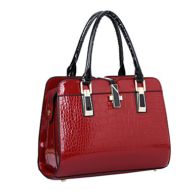 cheap Top Handles & Tote Bags-Women's Bags Patent Leather Tote / Shoulder Bag Solid Colored Black / Blue / Wine