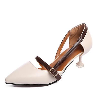 Mulheres Sapatos Couro Ecológico Verão Conforto Sandálias Caminhada Salto Baixo Dedo Apontado Presilha Bege / Castanho Escuro