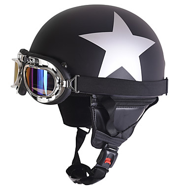 Half Face Motorcycle Helmet Silver Star Pattern Flexible ABS Street Motorcycle Helmet Matte Black Color