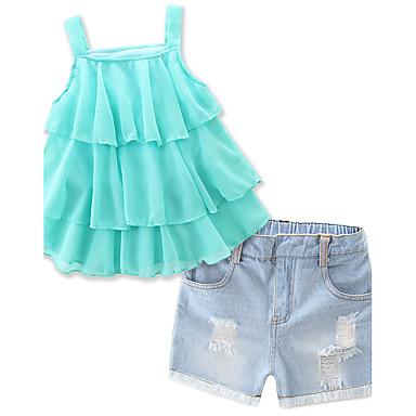 Audace Bambino (1-4 Anni) Da Ragazza Con Balze - Abbigliamento Quotidiano - Per Eventi - Spiaggia Tinta Unita Senza Maniche Standard Standard Cotone - Poliestere Completo Verde #05821021 Ultimo Stile