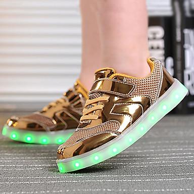 Para Meninos Sapatos Tule / Couro Ecológico Verão Conforto / Inovador / Tênis com LED Tênis Caminhada Cadarço / Colchete / LED para Dourado / Prata / Rosa claro