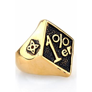 Homens Anel Anel de declaração - Forma Geométrica Personalizada Euramerican Hip-Hop Fashion Rock Punk Dourado Preto Vermelho Anel Para