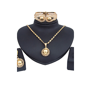 Mulheres Conjunto de jóias 1 Colar 1 Par de Brincos - Clássico Vintage Euramerican Fashion Adorável Estilo simples Outros Dourado