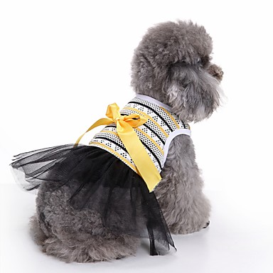 Gato Cachorro Smoking Vestidos Roupas para Cães Riscas Amarelo Algodão Ocasiões Especiais Para animais de estimação Mulheres Fofo Casual