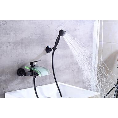 Moderne Mittellage Wasserfall Keramisches Ventil Einzigen Handgriff Zwei Löcher Öl-riebe Bronze, Badewannenarmaturen