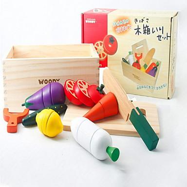 Comida de Brinquedo / Brinquedos de Faz de Conta Cortadores de Frutas e Vegetais / Frutas e Vegetais Magnética De madeira Crianças Dom