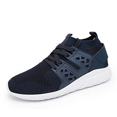 Herren Schuhe Tüll Frühling Sommer Komfort Sneakers Schnürsenkel für Sportlich Normal Schwarz Grau Blau
