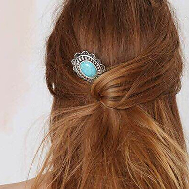 Women's Gem Alloy Hair Clip,Party Jewelry Vintage Silver