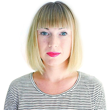 Syntetiske parykker Bølget Blond Bobfrisyre / Med lugg Syntetisk hår Blond Parykk Dame Lokkløs