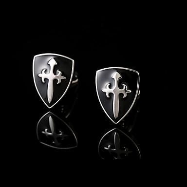 Forma Geométrica Preto Botões de Punho Cobre Fashion Caixas de presente e Bolsas Homens Jóias de fantasia