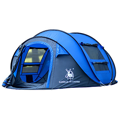 HUILINGYANG 4 pessoas Barracas de Acampar Leves Único Automático Dome Barraca de acampamento Ao ar livre Prova-de-Água, A Prova de Vento, Dobrável para Equitação / Campismo 2000-3000 mm Fibra de