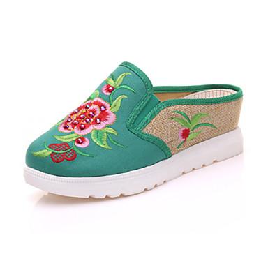 Mulheres Sapatos Lona Verão / Outono Conforto / Inovador / Chanel Oxfords Caminhada Salto Plataforma Ponta Redonda Flor Vermelho / Verde