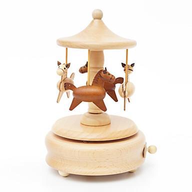 Music Box Hračky Roztomilý Kulatý Kolotoč Veselé kolo Dřevo Pieces Unisex Dárek