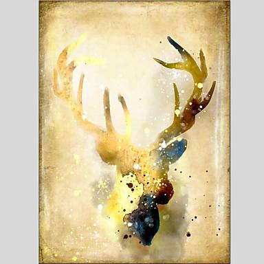Pintura a Óleo Pintados à mão - Animais Clássico Modern Tela de pintura