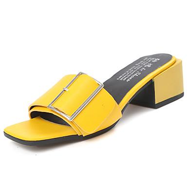 여성 샌들 컴포트 여름 PU 청키 굽 화이트 블랙 옐로우 레드 7.5cm- 9.5cm