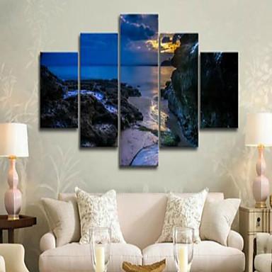 Laminado Impressão De Canvas Paisagem Modern, 5 Painéis Horizontal Estampado Decoração de Parede Decoração para casa