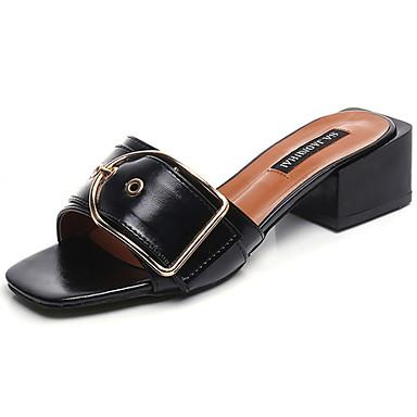여성 샌들 컴포트 여름 PU 낮은 굽 블랙 베이지 어두운 무늬 7.5cm- 9.5cm
