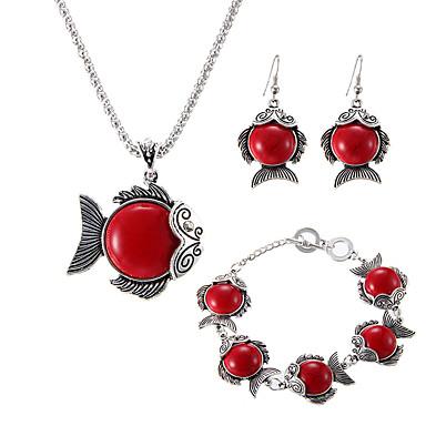 Mulheres Turquesa Conjunto de jóias 1 Colar 1 Par de Brincos 1 Bracelete - Luxo Original Pingente Clássico Vintage Importante Euramerican