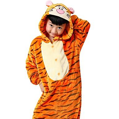 Kigurumi-pyjamas Tiger Onesie-pyjamas Kostym Flanell Orange Cosplay För Barn / Vuxna Pyjamas med djur Tecknad serie halloween Festival /