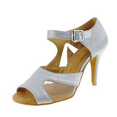 Mulheres Sapatos de Dança Latina Cetim Sandália / Salto Lantejoulas / Presilha Salto Personalizado Personalizável Sapatos de Dança Claro