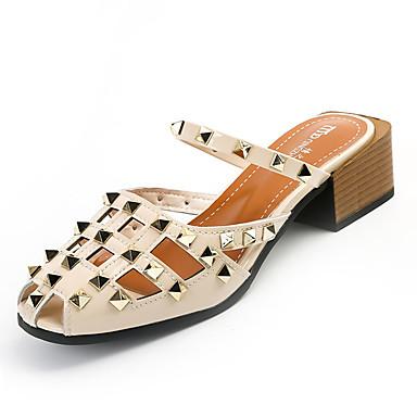 Mulheres Sapatos Couro Ecológico Verão Chanel Sandálias Salto de bloco Ponta Redonda Tachas para Casual Branco Preto