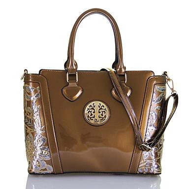 hesapli Çantalar-Kadın's Üstten Saplı Çanta Rugan Deri Solid Şampanya / Siyah / YAKUT / Sonbahar Kış