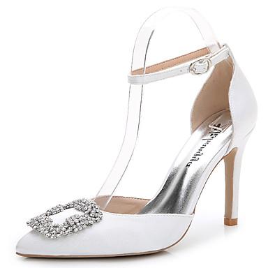 Mulheres Sapatos Seda Verão / Outono D'Orsay Sandálias Salto Agulha Dedo Apontado Pedrarias / Cristais / Gliter com Brilho Branco / Rosa