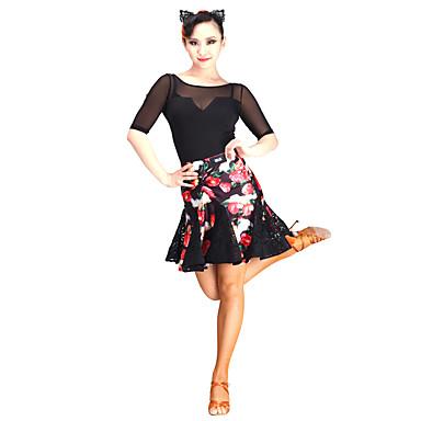الرقص اللاتيني تنورات قصيرة وتنورة نسائي أداء دانتيل / تول / مخمل دانتيل ارتفاع متوسط الالتفاف