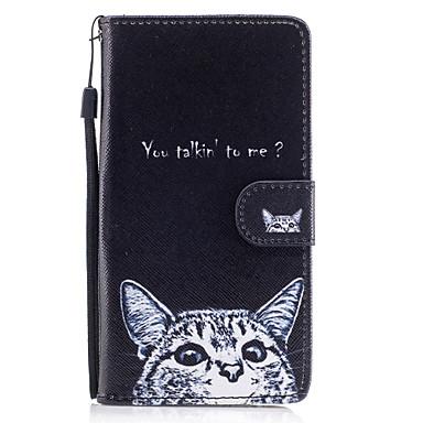 Capinha Para Samsung Galaxy J5 (2016) Carteira / Porta-Cartão / Com Suporte Capa Proteção Completa Gato Rígida PU Leather para J5 (2017) / J5 (2016) / J5