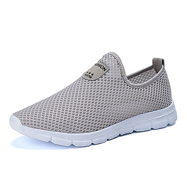 Homens sapatos Tule Verão Conforto Tênis Caminhada Combinação para Casual Preto Cinzento Azul