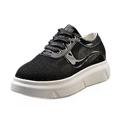 Damen Sneakers Komfort Frühling Herbst Lackleder Walking Schnürsenkel Creepers Gold Schwarz Silber Unter 2,5 cm