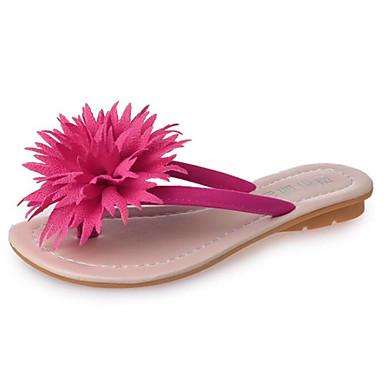 여성 슬리퍼 플립 플롭 워킹화 조명 신발 클럽 신발 패브릭 봄 여름 캐쥬얼 꽃패턴 플랫 화이트 블랙 퍼플 레드 플랫