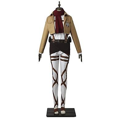 مستوحاة من Attack on Titan Mikasa Ackermann أنيمي أزياء Cosplay الدعاوى تأثيري سادة كم طويل بلايز / بنطلونات / مئزر من أجل للرجال / للمرأة كوستيوم هالوين