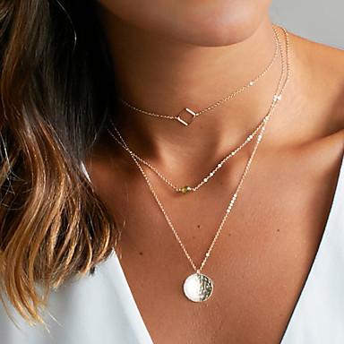 Mulheres Gargantilhas / Pingentes / colares em camadas  -  Básico Dourado, Prata Colar Para Casamento, Festa, Aniversário