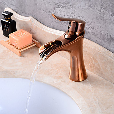 Torneira pia do banheiro - Pré Enxaguada Cascata Separada Rosa Dourado Conjunto Central Monocomando e Uma Abertura