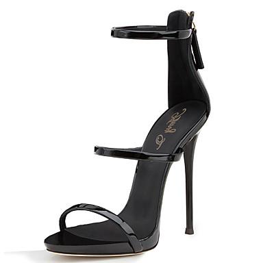 Mulheres Sapatos Couro Ecológico Primavera / Verão Gladiador / Sapatos clube Sandálias Salto Agulha Ponta Redonda Ziper Preto