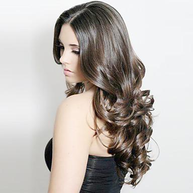 Aidot hiukset Full Lace Peruukki Runsaat laineet 100% käsinsidottu Afro-amerikkalainen peruukki Luonnollinen hiusviiva Pitkä 130% Tiheys