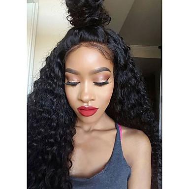 Kvinder Blondeparykker med menneskehår Ekte hår 150% tetthet Kinky Krøllet 360° front Parykk Svart Mørkebrun Medium Brun Svart Kort
