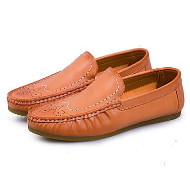 Herren Loafers & Slip-Ons Komfort Leuchtende Sohlen Schweineleder Frühling Sommer Outddor Lässig Walking Flacher AbsatzSchwarz Orange