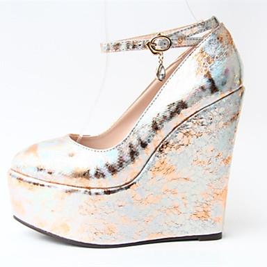 Mulheres Sapatos Couro Ecológico Primavera Outono Sapatos clube Saltos Salto Plataforma Ponta Redonda Presilha para Casamento Festas &